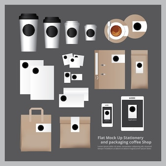 Flat mock up stationery e confezione coffee shop