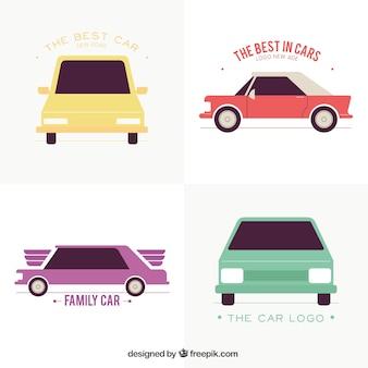 Flat pack di loghi colorati con auto d'epoca