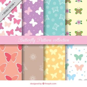 Flat pack di otto modelli di farfalla