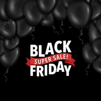 Flayer del black friday con palloncini
