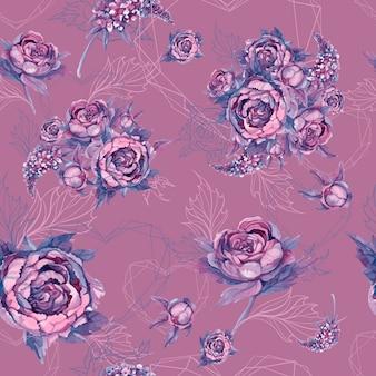 Floral seamless pattern bouquet di rose peonie e lillà
