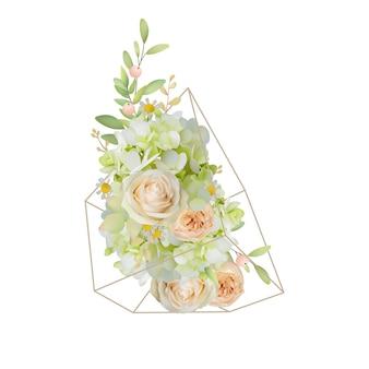 Floreale con rose da giardino e ortensia in terrario