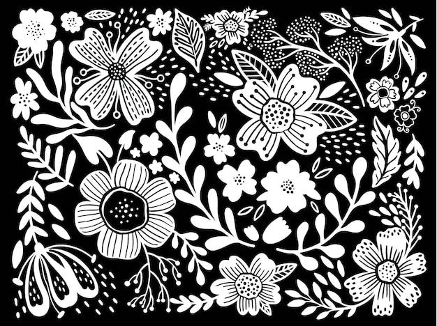 Floreale etno fiori selvatici popolari. set di bouquet in stile country. chic rustico.