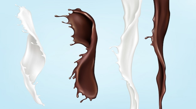 Flussi di latte e cioccolato, versando liquidi turbolenti