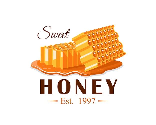 Flussi di miele con favo su sfondo bianco. etichetta di miele, logo, concetto di emblema. illustrazione