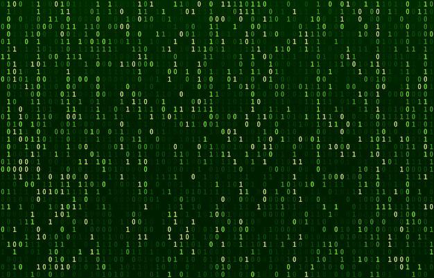 Flusso di codice a matrice. schermata verde dei codici dati, flusso di numeri binari e estratto delle schermate della riga di crittografia del computer