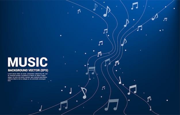 Flusso di dancing della nota di melodia di musica di vettore