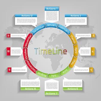 Flusso di lavoro di presentazione aziendale infografica, calendario di cerchio pianificatore layout sulla mappa del mondo