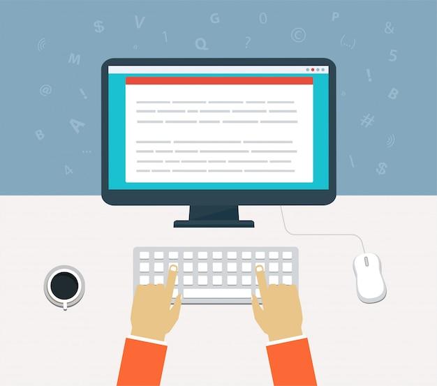 Flusso di lavoro per computer. inserisci il contenuto sul computer