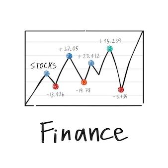 Fluttuazione nell'illustrazione del grafico del mercato azionario finanziario
