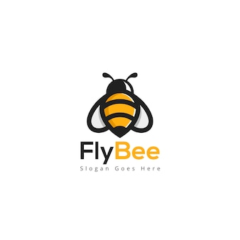 Fly bee logo template