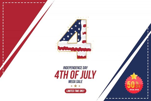 Flyer celebrate happy 4 luglio, banner del giorno dell'indipendenza