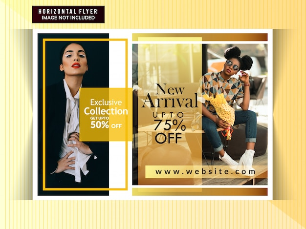 Flyer orizzontale di vendita di moda