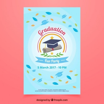 Flyer party con foglie e tappi di graduazione