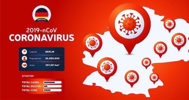 Focolaio di coronavirus da wuhan, cina. fai attenzione ai nuovi focolai di coronavirus in germania. diffusione del romanzo coronavirus background.
