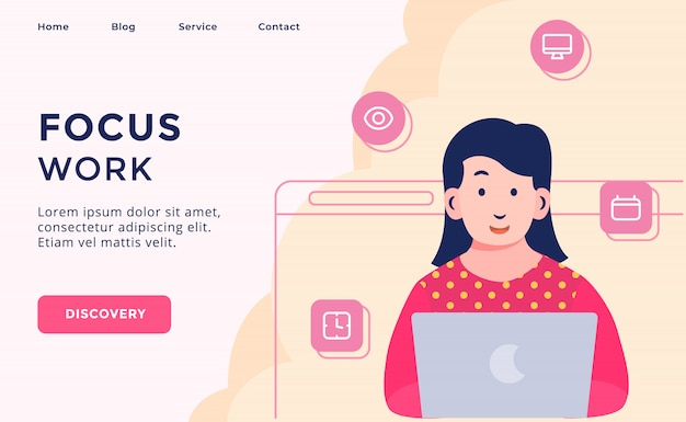Focus lavoro campagna di processo creativo per home page di destinazione pagina di destinazione del modello di sito web web con stile cartoon piatto moderno.