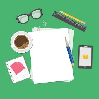 Fogli bianchi di carta sull'illustrazione da tavolino