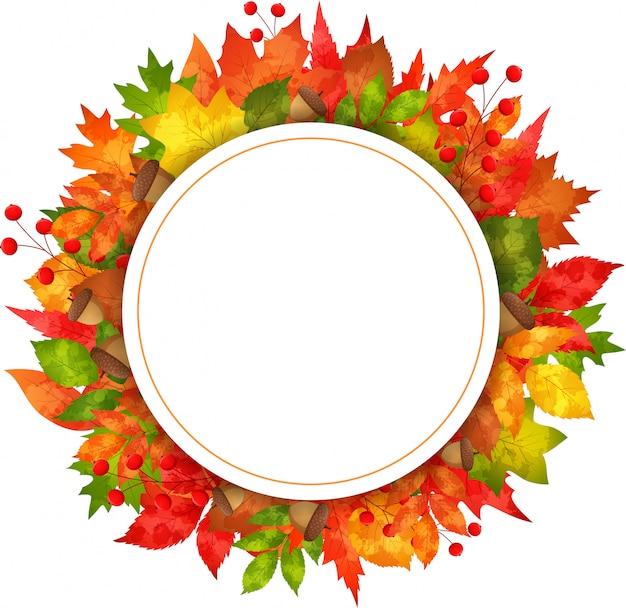 Fogli della bandiera di autunno con documento rotondo