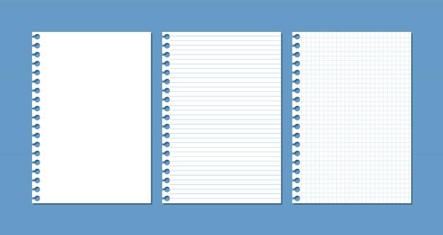 Fogli di carta da un quaderno o un blocco note