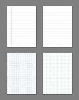 Fogli di carta quadrati, a righe, quaderno di pagine grigliate.