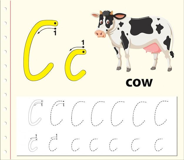 Fogli di lavoro dell'alfabeto di tracciamento della lettera c