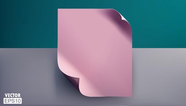 Fogli rosa vuoti con angoli piegati.