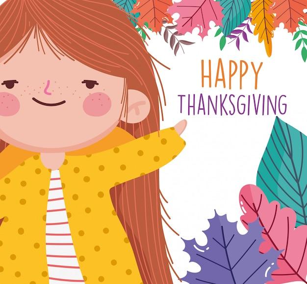 Fogli svegli del fogliame della bambina di celebrazione felice di ringraziamento
