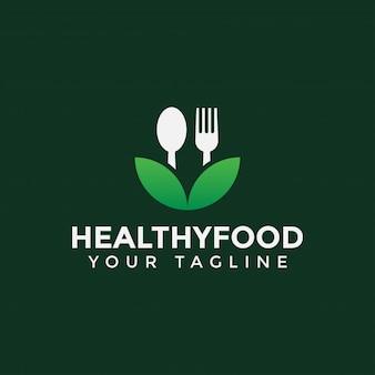 Foglia con cucchiaio e forchetta, cibo sano, ristorante logo design template
