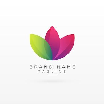 Foglia logo design concetto in stile colorato
