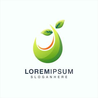 Foglia logo design illustrazione vettoriale