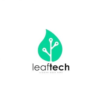 Foglia logo vettoriale tech. modello di logo foglia e tecnologia