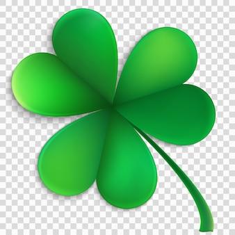 Foglia verde felice del trifoglio isolata su fondo trasparente. oggetto del giorno di san patrizio.