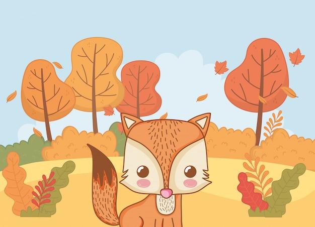 Fogliame animale carino ciao autunno