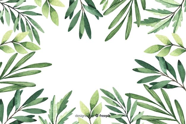 Fogliame con sfondo floreale acquerello spazio di copia