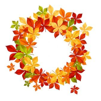 Foglie che cadono d'autunno nel telaio per stagionale