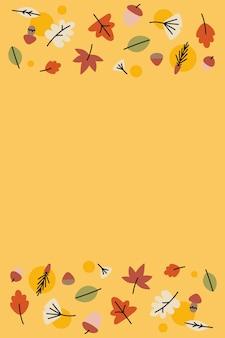 Foglie d'autunno su giallo