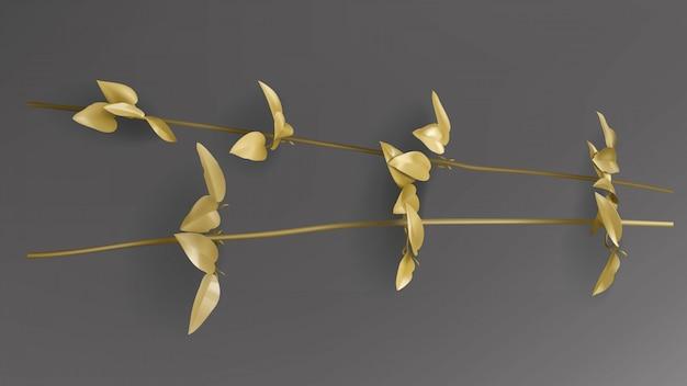 Foglie d'oro tropicali, ramoscello di liana sul vettore sfondo nero scuro.