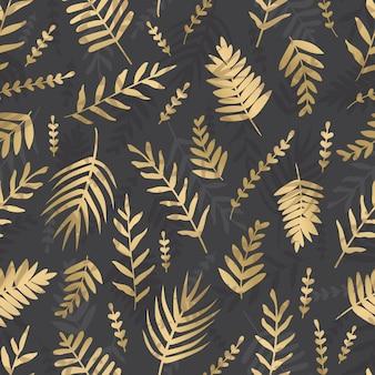 Foglie d'oro vettoriale su uno sfondo scuro. modello senza cuciture di foglie tropicali