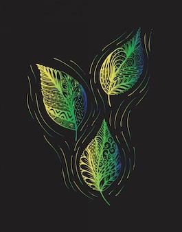 Foglie dell'illustrazione di vettore e nello stile di scarabocchio. elementi di disegno vettoriale floreale, ornato, decorativo, tribale