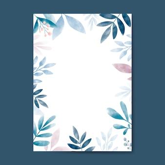 Foglie di acquerello con design dello spazio della copia