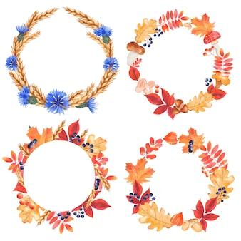 Foglie di autunno cornici rotonde