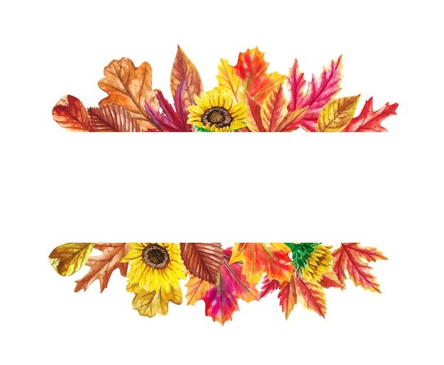 Foglie di autunno dell'acquerello, cornice di girasoli.