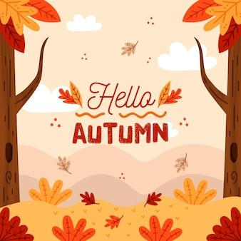 Foglie di autunno disegnati a mano sullo sfondo