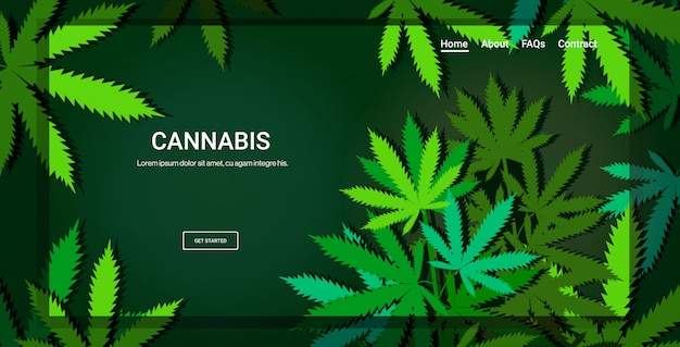 Foglie di cannabis o marijuana landing page concetto di consumo di droga spazio orizzontale copia