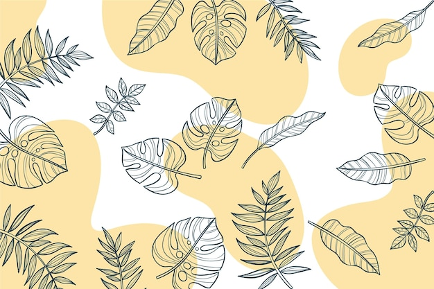 Foglie di fogliame lineare con sfondo di colore pastello