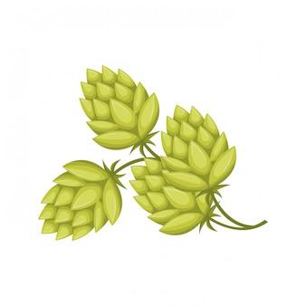 Foglie di grano e icona isolata pinecone