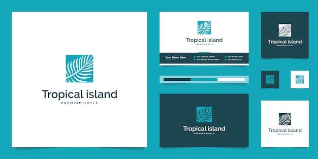 Foglie di palma. concetto di design astratto per agenzie di viaggio, resort tropicali, hotel sulla spiaggia. modello di progettazione di logo di vacanze estive.