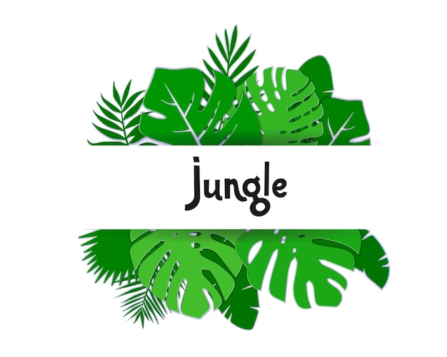 Foglie di palma tropicali di estate alla moda. bandiera esotica hawaiana di estate con lettering jungle