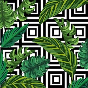 Foglie di piante e figure geometriche sullo sfondo