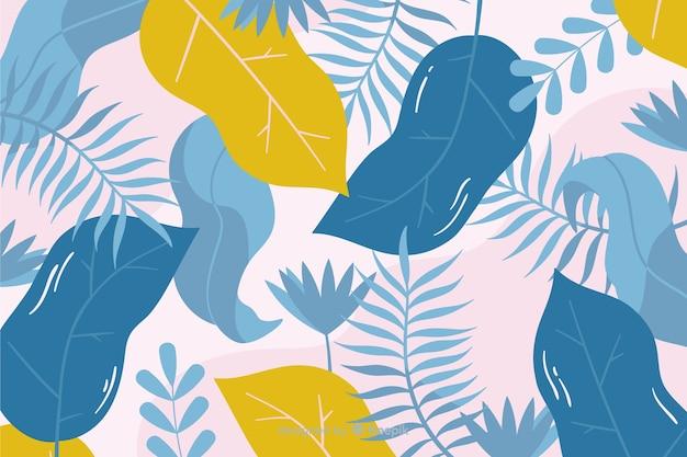 Foglie disegnate a mano e sfondo di piante